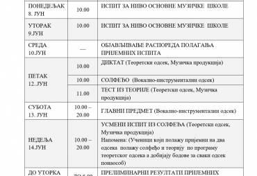 Календар активности пријемног испита за 1. разред СМШ