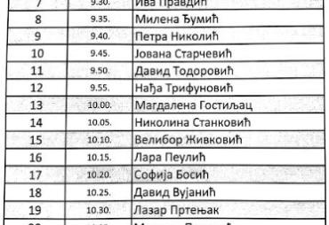 Сатница за пријемни испит у припремни разред (16.06.2020.) у јунском року